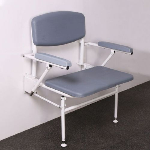 DTUK78 Wall-Mounted Bariatric Shower Seat with Backrest, Legs & Fold-Down Arms